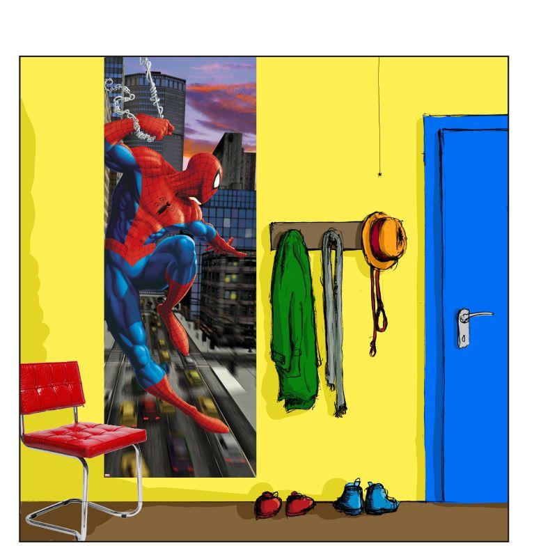 """Введите номер телефона.  Детские фотообои на стену  """"Человек-паук в Нью-Йорке """".  Komar 1-437 Spiderman NYC."""